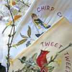 Embroidered birds tea towels
