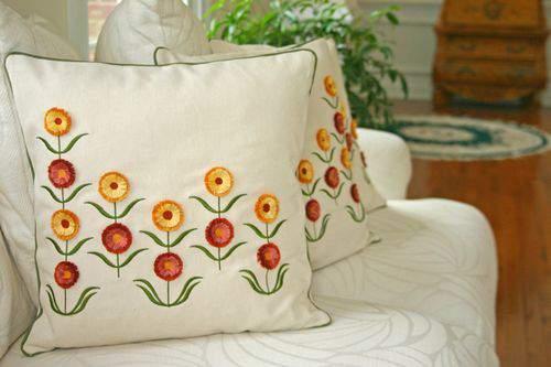 Blog flower pillow open