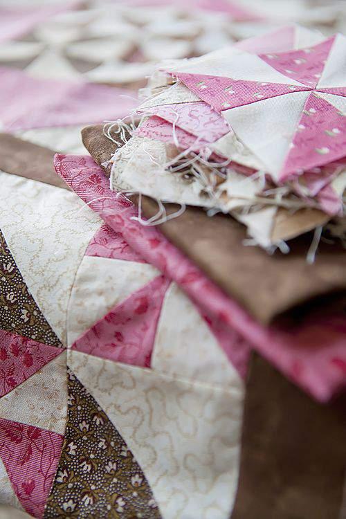 Pink quilt pieces