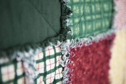 rag quilt closeup