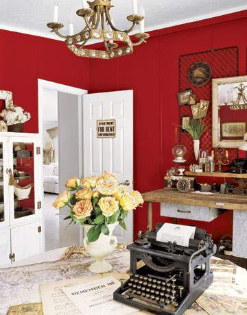 Red, home office space