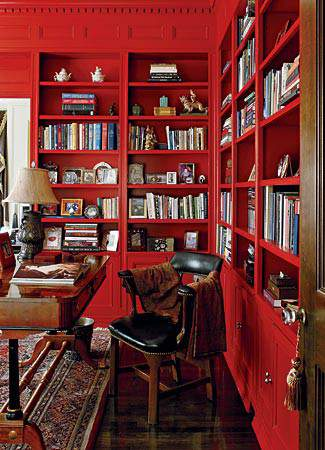 Red painted bookshelves