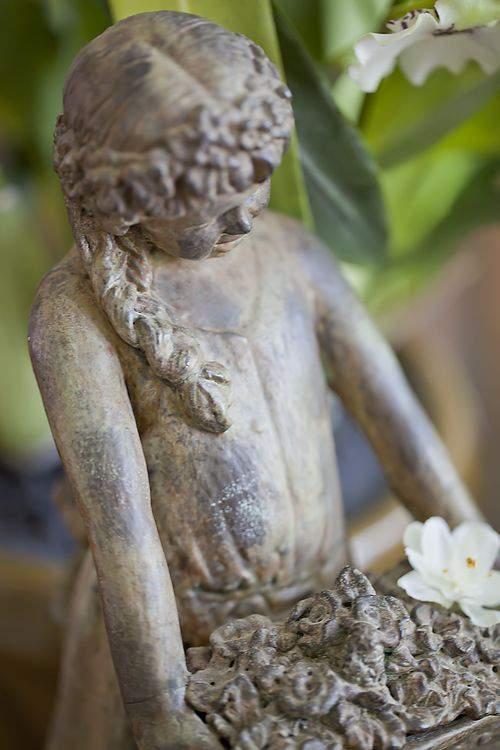 Patina garden girl statue
