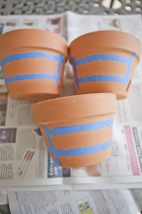 terra cotta pots and tape
