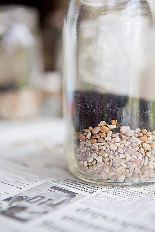 mason jars with charcoal