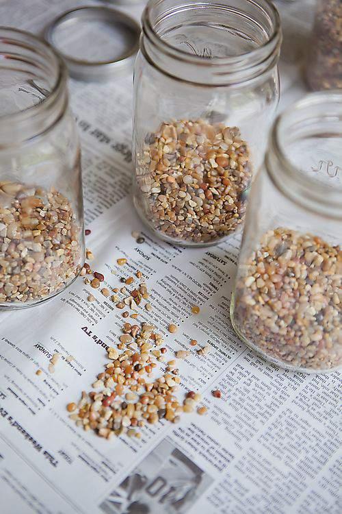 mason jars with pebbles