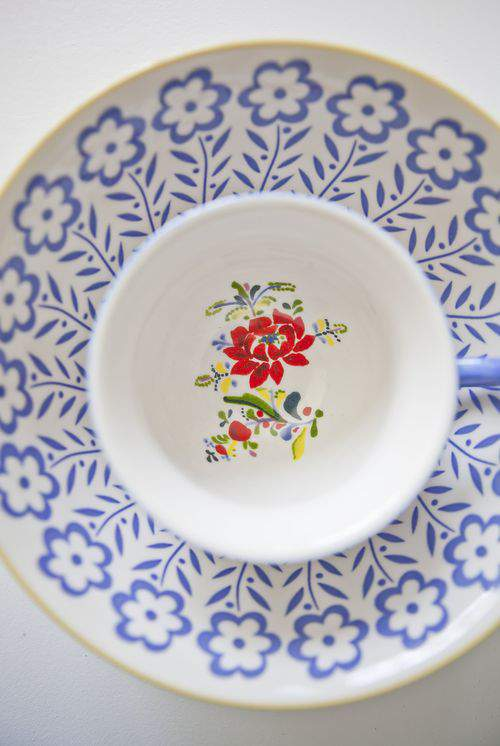 blue floral dishes