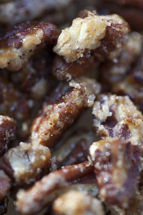 carmelized pecans close-up