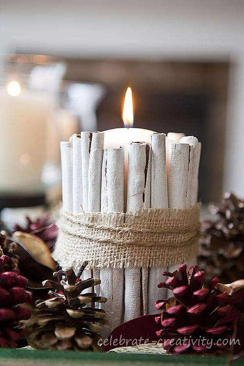 candle sticks and cinnamon sticks
