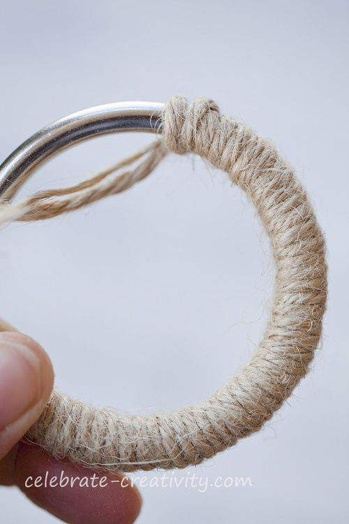 metal ring and jute