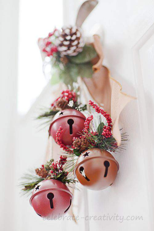 holly and jingle bells door hanger