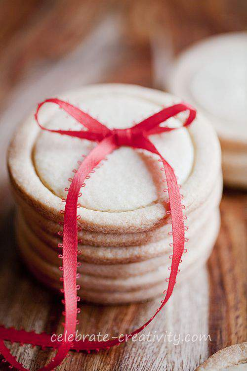 button cookies tied with a bow
