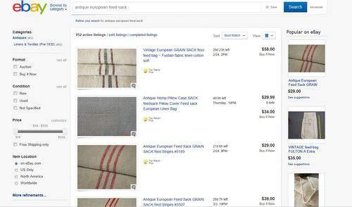 vintage grain sack Ebay listing