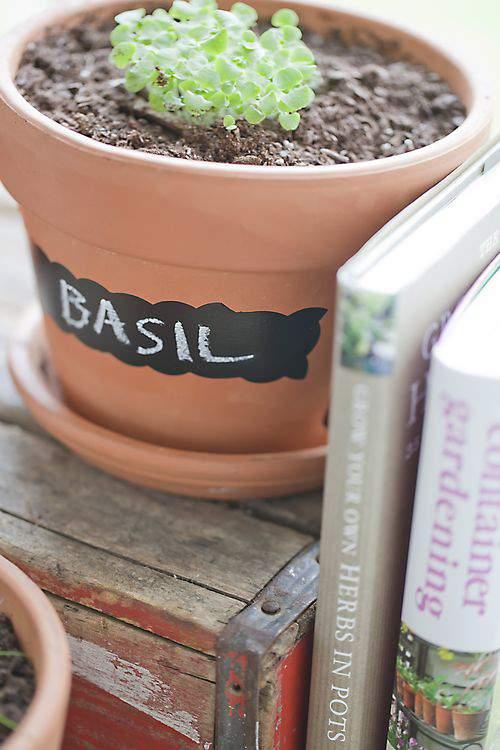 chalkboard garden pots
