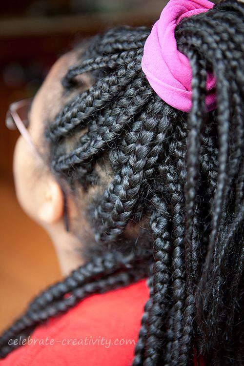 box braids pink tie