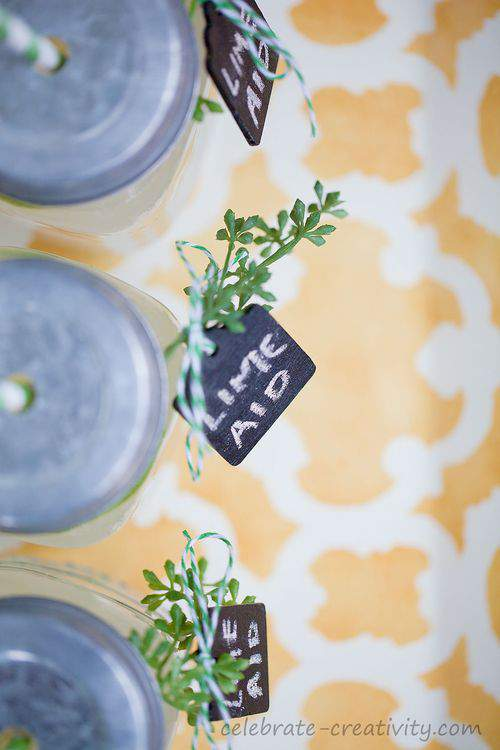 chalkboard tags and mason jars