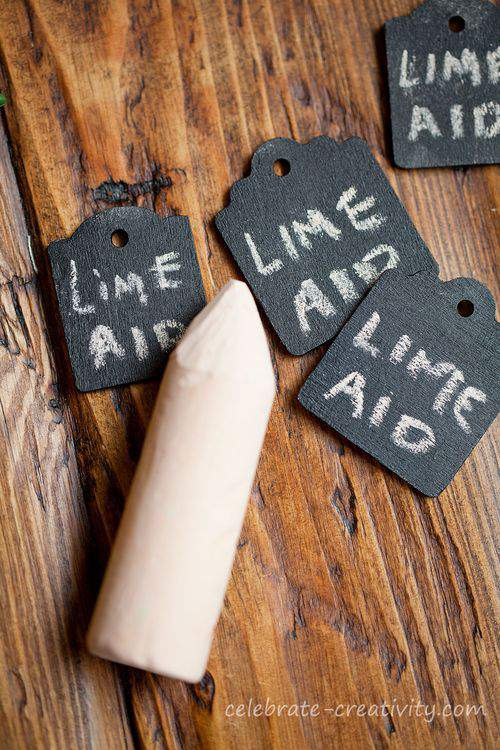drink tags using chalkboard paint
