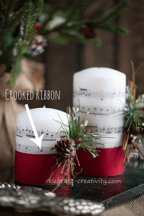 Music-candles crooked ribbon