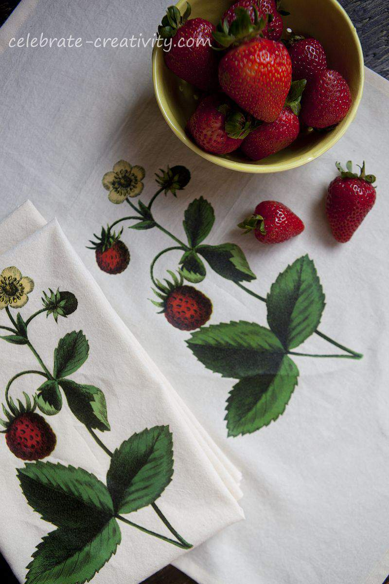 Strawberry dish towel set