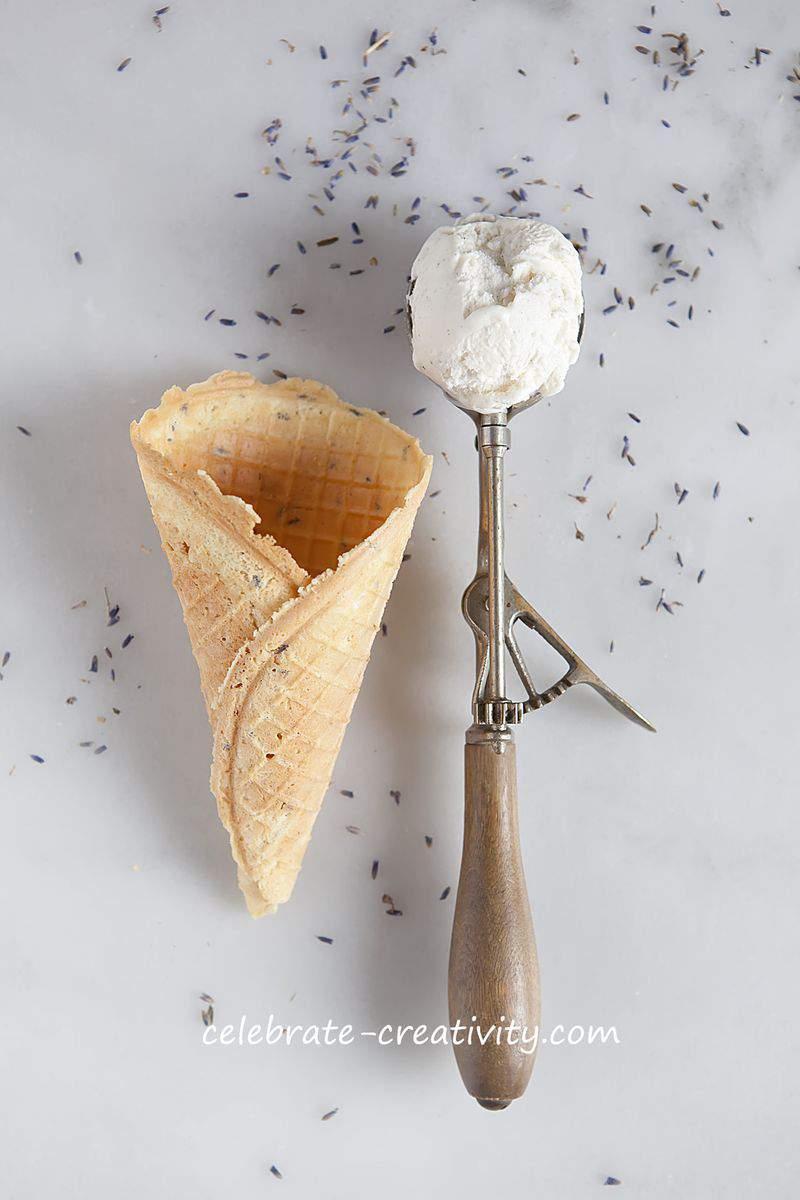 Waffle cone ice cream scoop