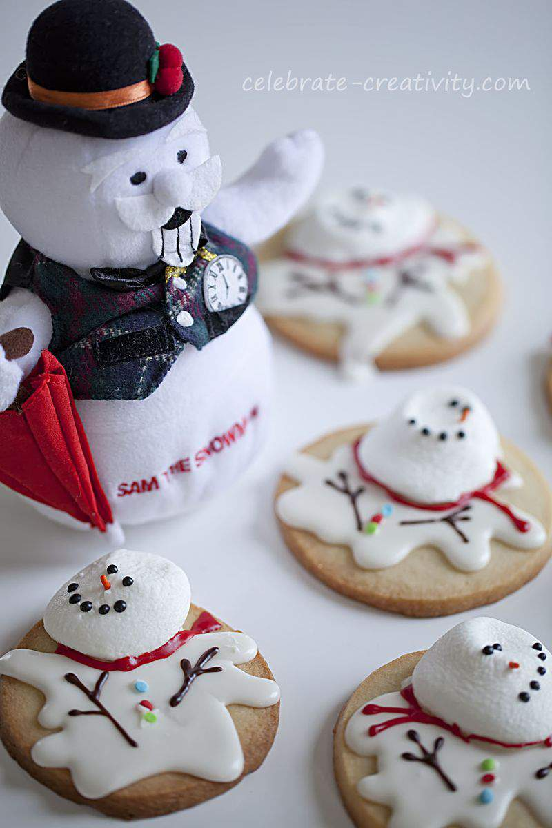 Melted snowman cookie set2