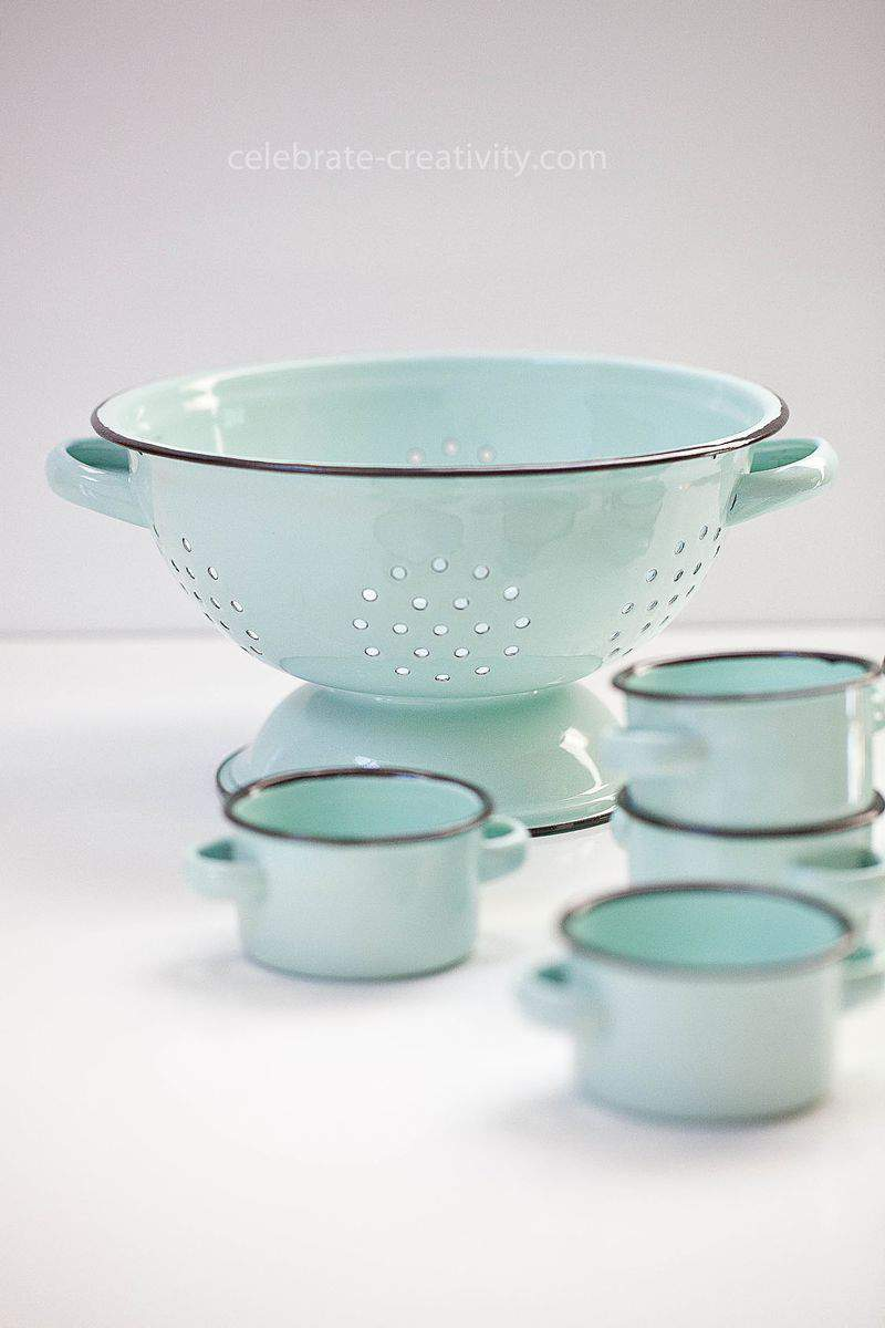 Duck egg blue colander
