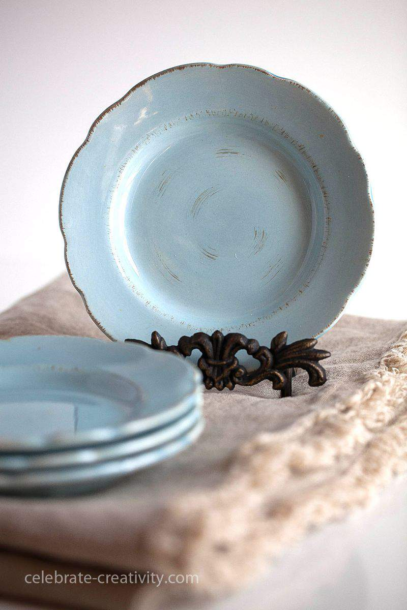Duck egg blue plates