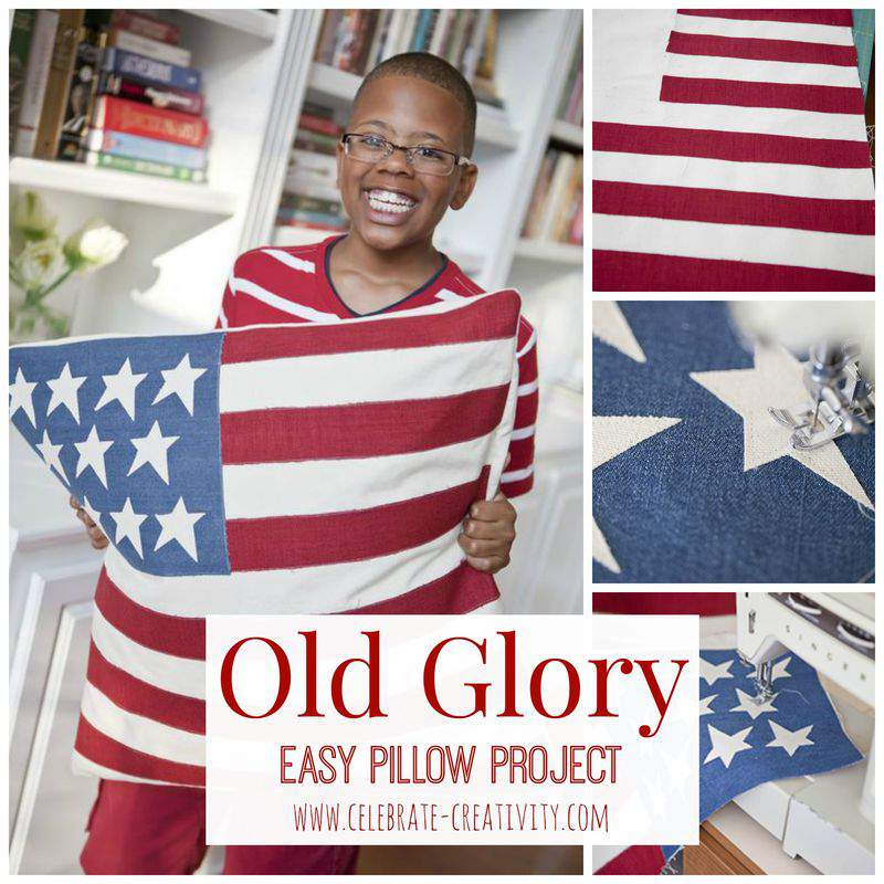 Old glory pillow graphic