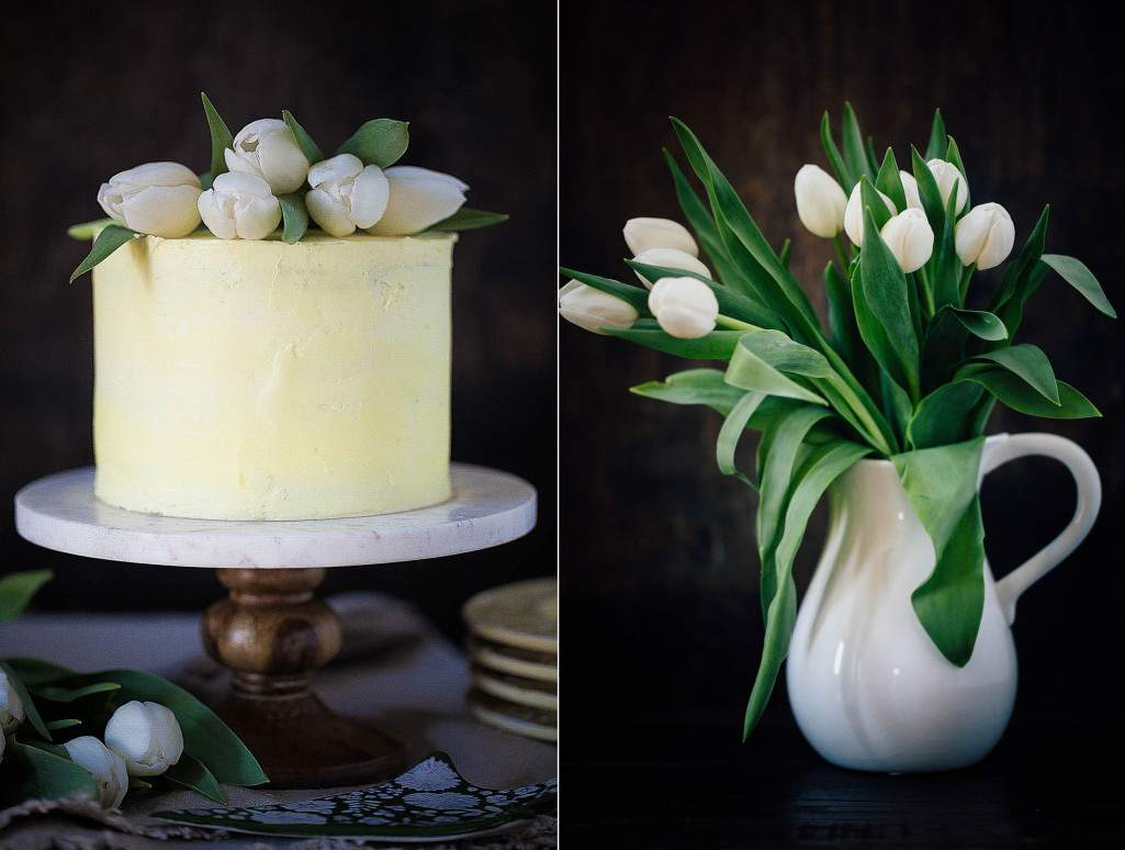 cake and tulips