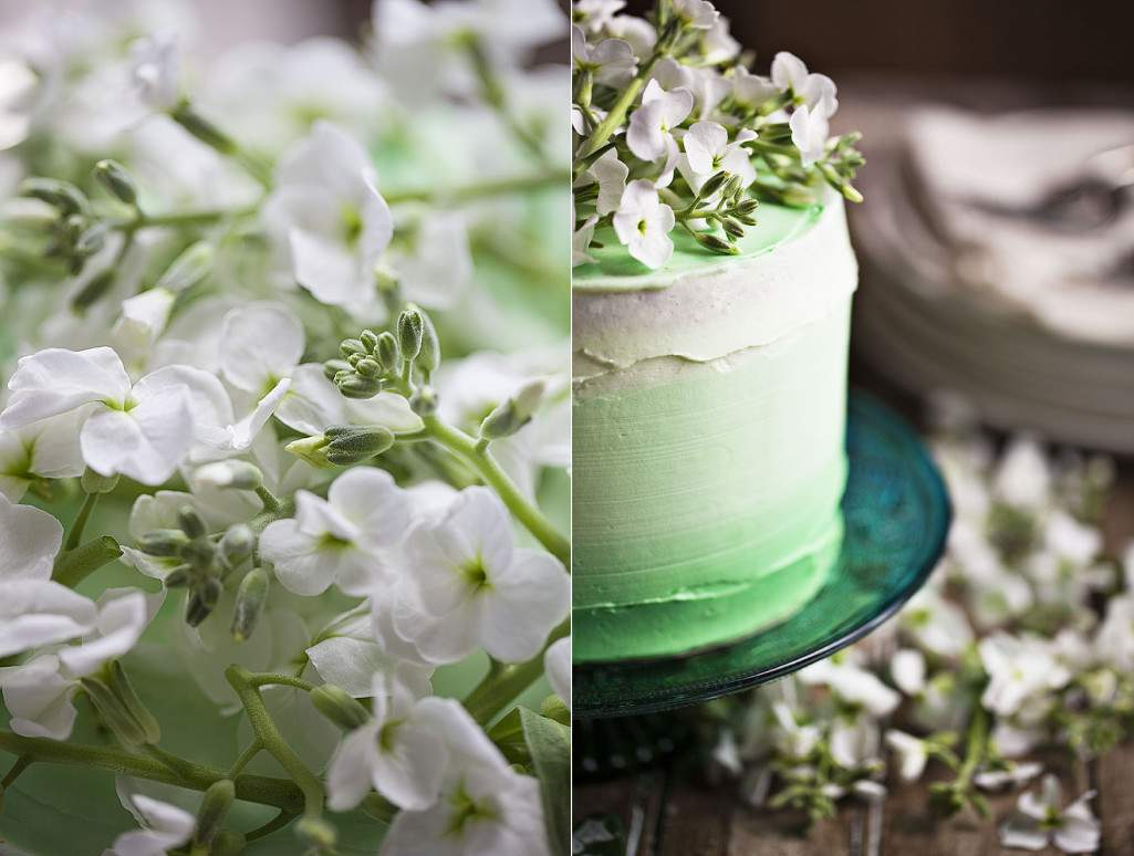 ombre cake and flowers