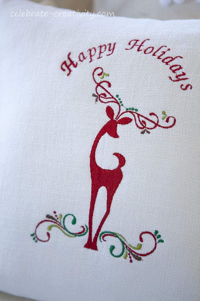 reindeer embroideredpillow