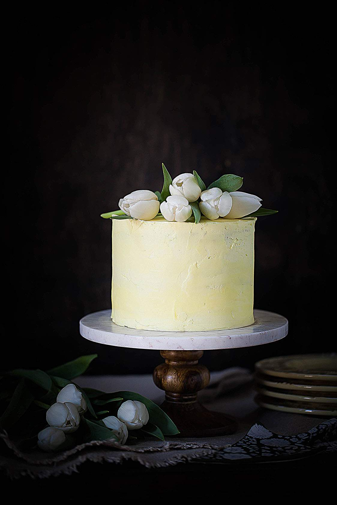 tulip topped cake