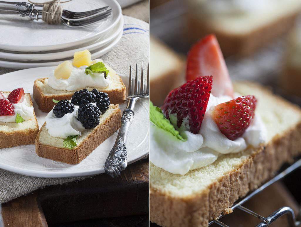 pound cake and fruit