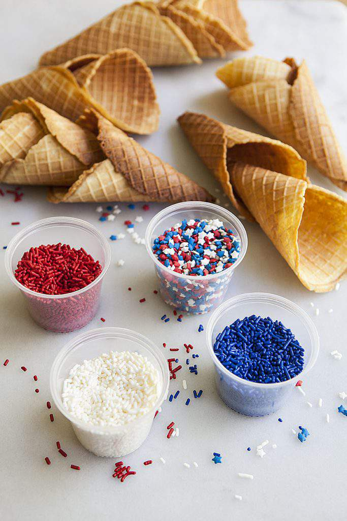 waffle cones and sprinkles