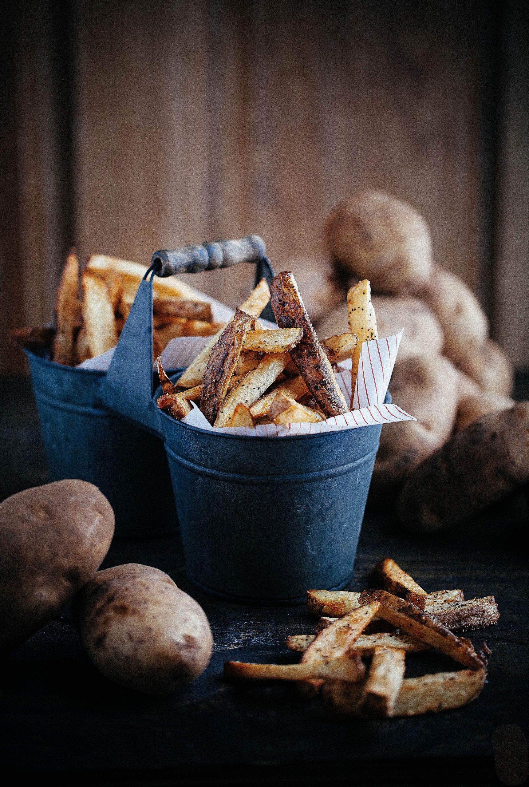 fries with potato skin