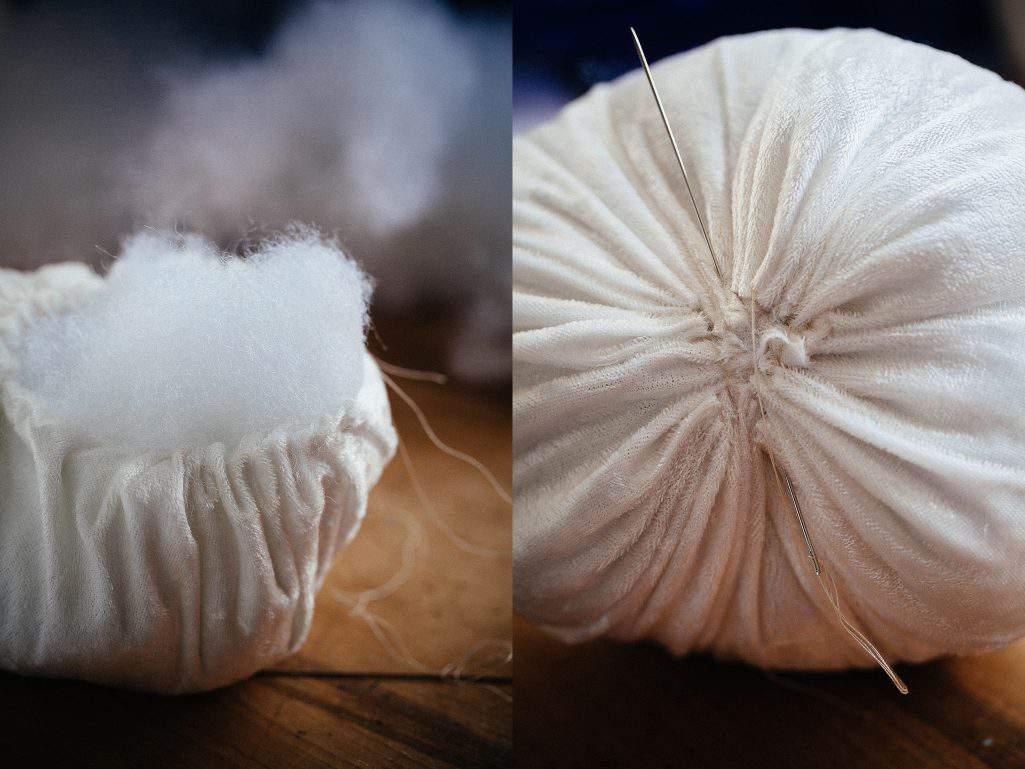 white velvet pumpkin cotton stuffing