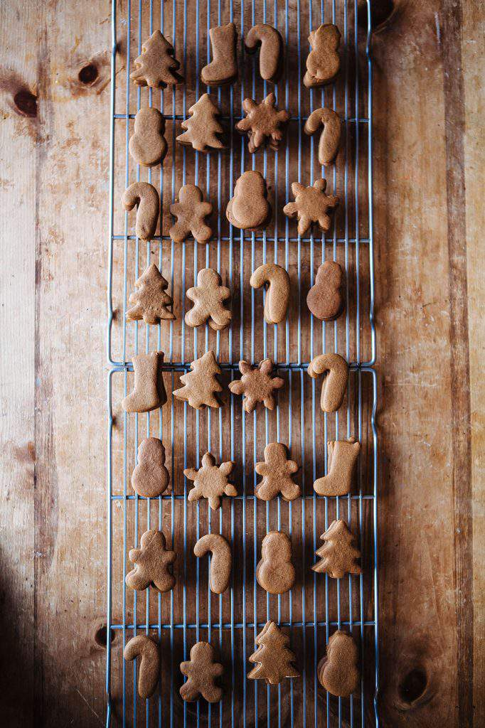 gingerbread cookies on a rack