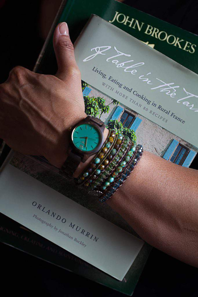 beaded bracelet and Jord watch