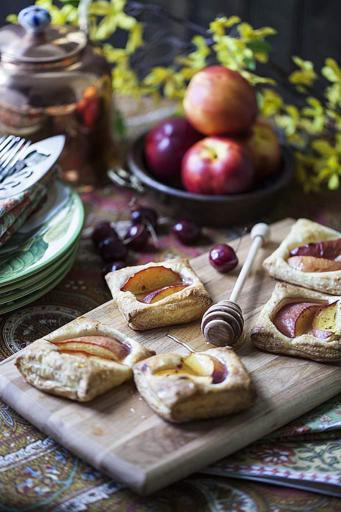 Honey-dripped nectarine tarts
