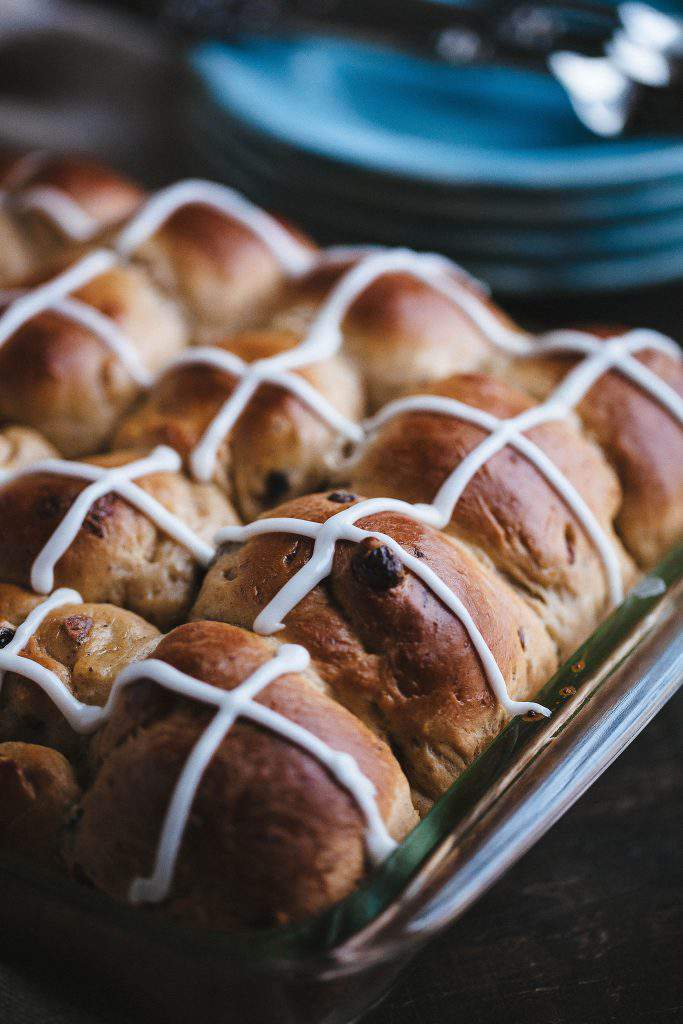 hot cross buns closeup