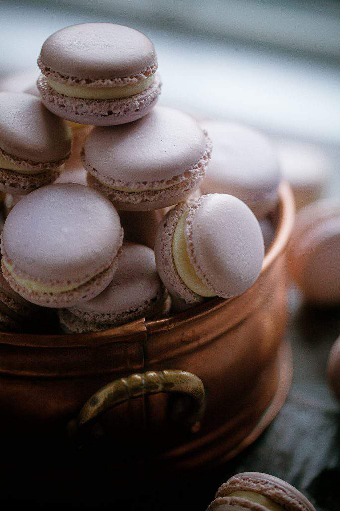 copper bowl of macarons