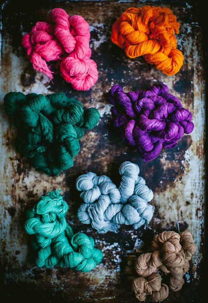 dyed fabric balls