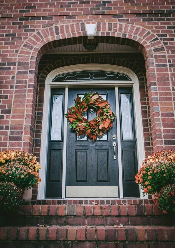 magnolia door wreath