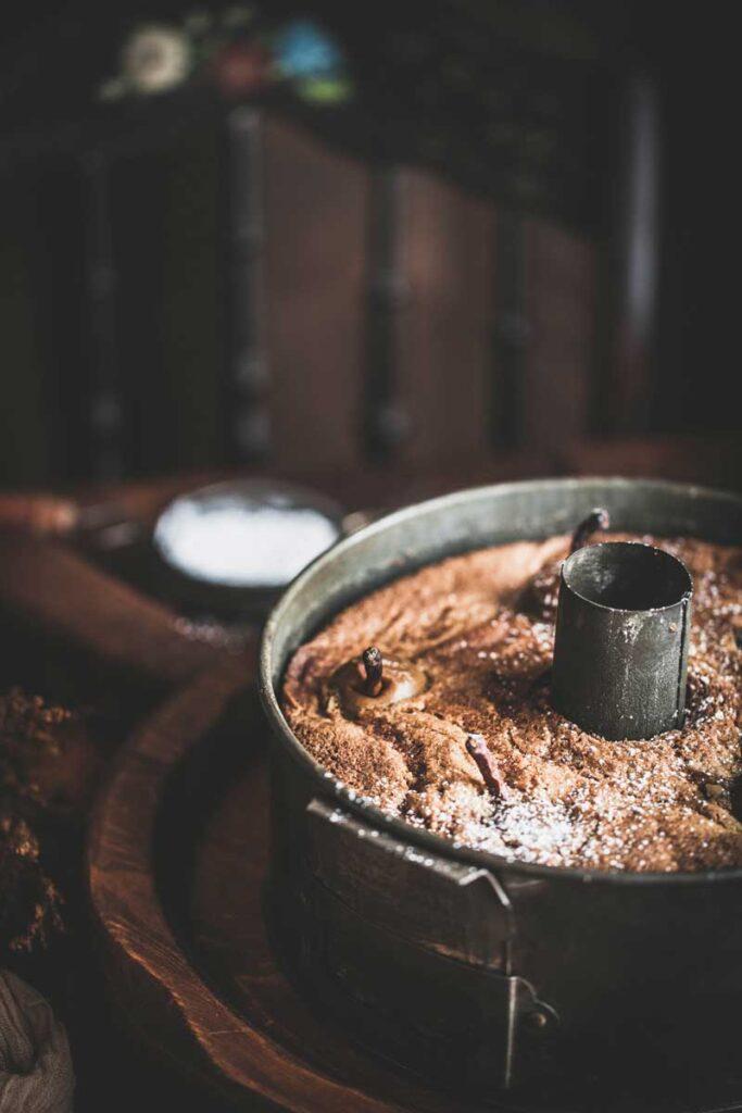 pear cake in tin